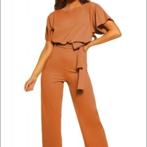 Pants - Brown Oh So Glam Belted Wide Leg Jumpsuit